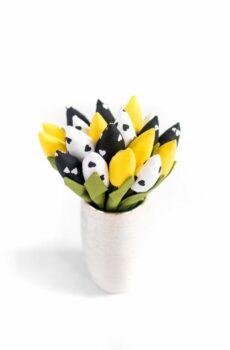 Tulipany bawełniane żółte z białymi i czarnymi serduszkami