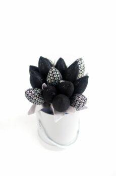Tulipany materiałowe czarno srebrne glamour