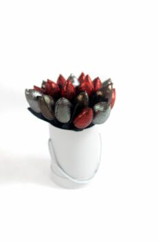 Tulipany materiałowe czerwono metaliczne glamour