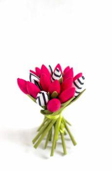 Tulipany bawełniane fuksja i paski