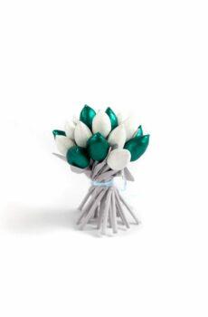 Tulipany materiałowe srebrno zielone glamour